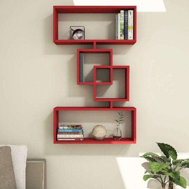 Étagère Harmony Moderne Rouge - Pour Chambre, Séjour, Salon, Bureau -  Soutien, Mur