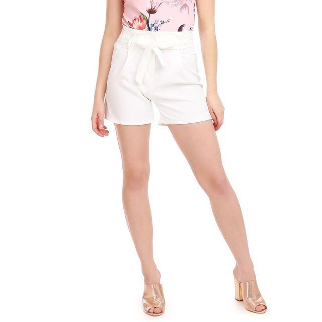 aa80ec480 Lamodeuse - Short blanc taille haute et ceinture - pas cher Achat ...