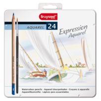 Bruynzeel - Expression Aquarel MÉTAL De 24 Crayons Aquarellables Avec Pinceau 7735M24