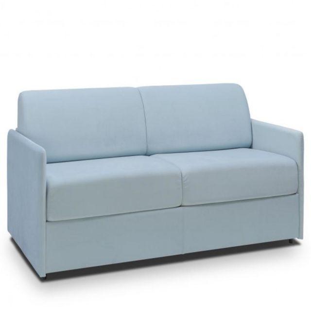 Canapé lit rapido Colosse matelas épaisseur 22 cm à mémoire de forme  velours bleu pastel