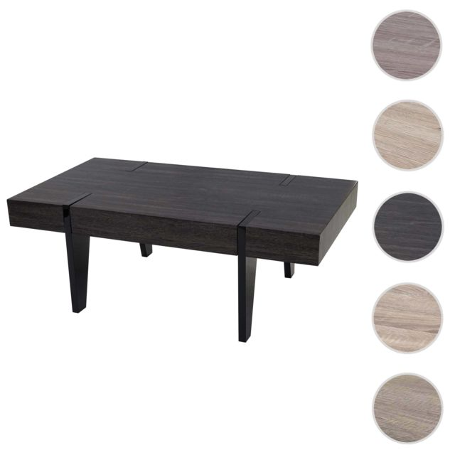 Mendler Table basse de salon Kos T575, Fsc 40x110x60cm ~ chêne noir, pieds foncés poli fin
