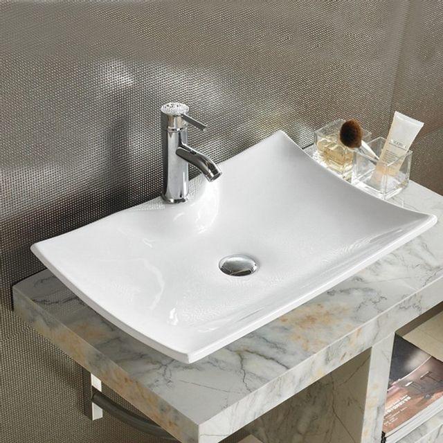 rue du bain vasque poser rectangulaire c ramique 60x40 cm scala pas cher achat. Black Bedroom Furniture Sets. Home Design Ideas