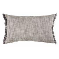 Winkler - Coussin déhoussable uni 100% coton tissage chambray franges Jet - Gris - 30x50cm