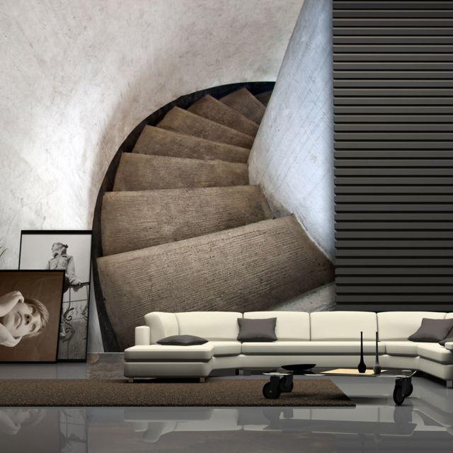 Papier Peint Escaliers A Vis 350x270 3d Et Perspective Trompe L Oeil