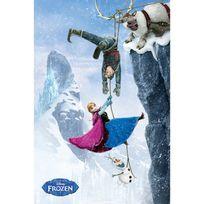 Cm Creation - Tableau en bois cadre blanc motif personnages falaise film brillant 61x91.5cm Frozen