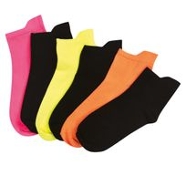 Rx Sport - Lot de 6 paires de chaussettes femme Fitness soft touch 3 noires - 3 fluo
