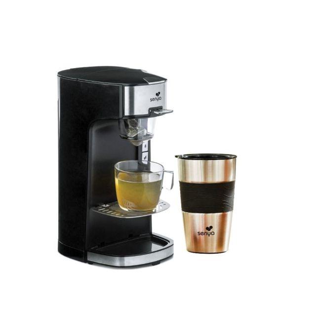 SENYA machine à thé Tea Time Noir et son tea mug isotherme double paroi