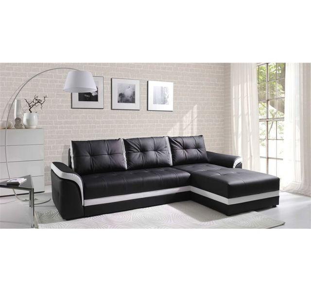 CHLOE DESIGN Canapé d'angle convertible Dumno - noir et blanc - Angle droit