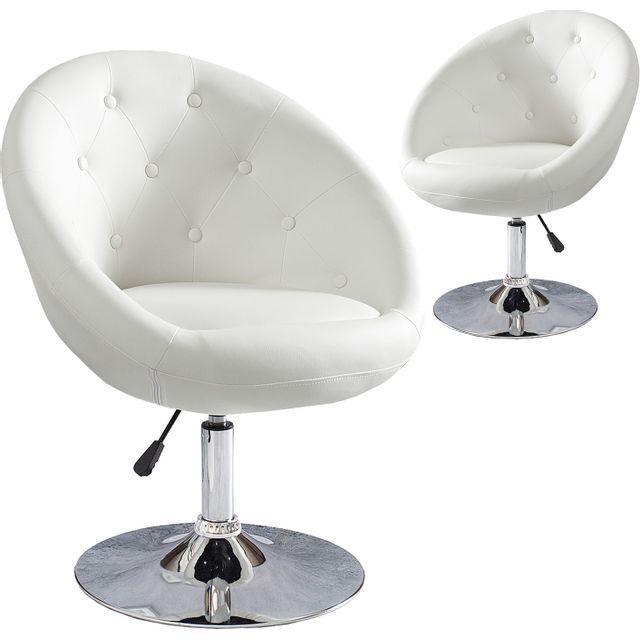 COMFORIUM Chaise de bureau design 85-100 cm en simili cuir coloris blanc