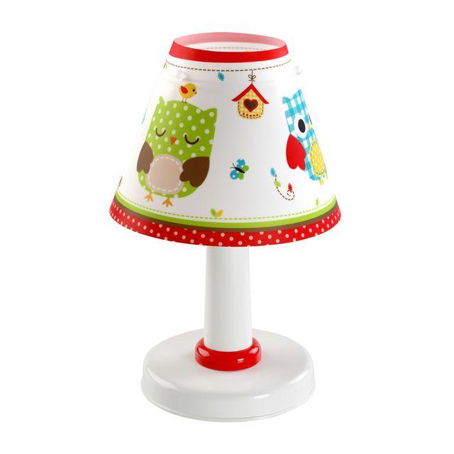 dalber lampe de chevet abat jour conique hauteur 26 cm diam tre 16 cm owls multicolore 0cm x. Black Bedroom Furniture Sets. Home Design Ideas