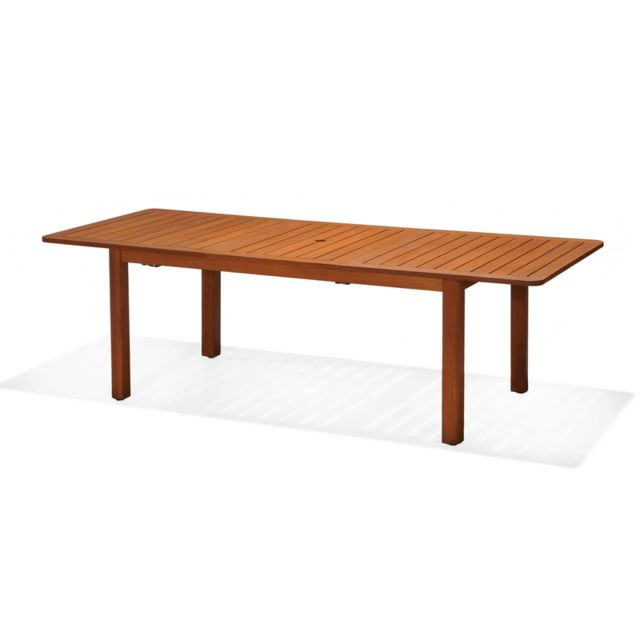 Table rectangulaire extensible jardin rectangulaire Hawksworth FSC en bois  d\'eucalyptus et aluminium 180-240 x 100 x 75 cm