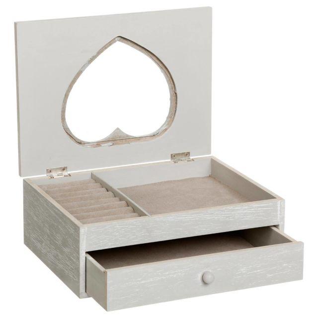 haute couture pas de taxe de vente gamme exclusive Boite à bijoux 1 tiroir cœur gris