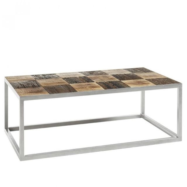 Inside 75 Table basse Broder 100 x 60 cm metal silver plateau manguier