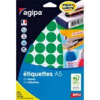 Agipa - Pastille adhésive 24 mm 11432 vert - pochette de 400