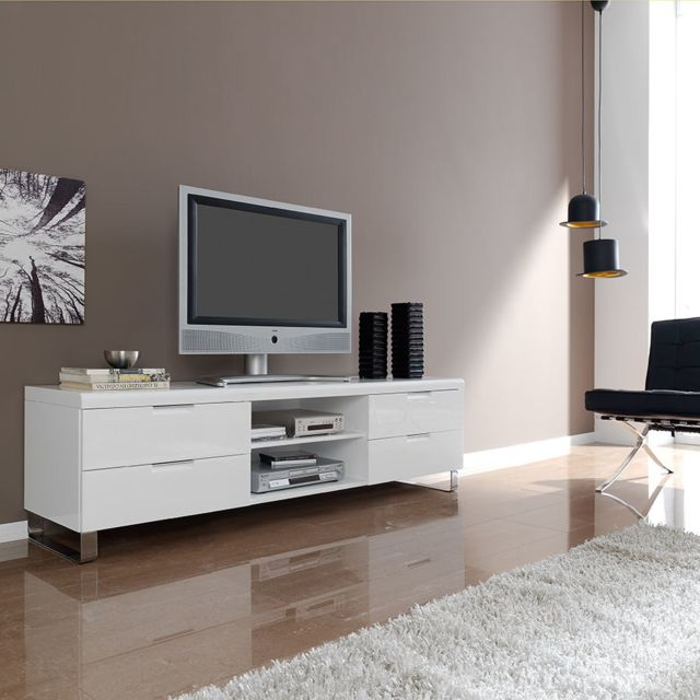 Kasalinea Meuble Tv Blanc Laque Design Jeremy Pas Cher Achat