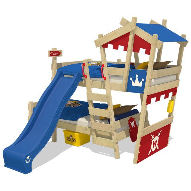WICKEY Lit mezzanine en bois CrAzY Castle avec toboggan bleu Lit superposé pour enfant couleur rouge - bleu