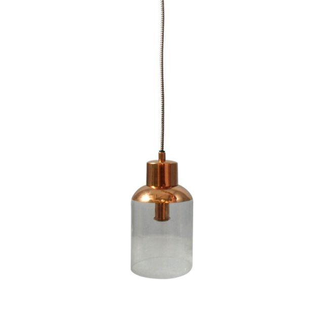 IntÉRIEUR Discount Suspension col cuivre et verre D.13xH.24cm