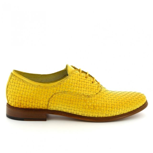 Leonardo Shoes Femme W02708INTYELLOW Jaune Cuir Chaussures À Lacets