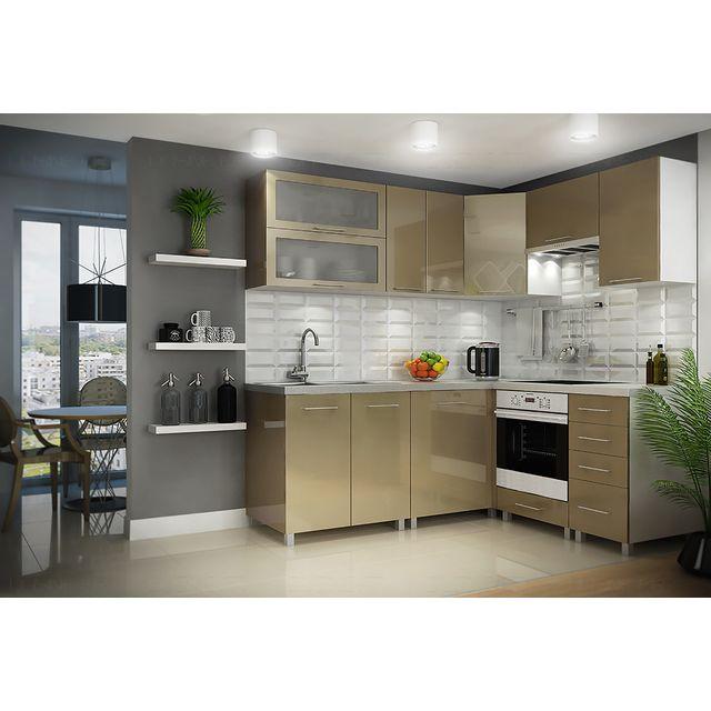 dusine cuisine beige cappuccino laqu e infinity 9 l ments angle pas cher achat vente. Black Bedroom Furniture Sets. Home Design Ideas
