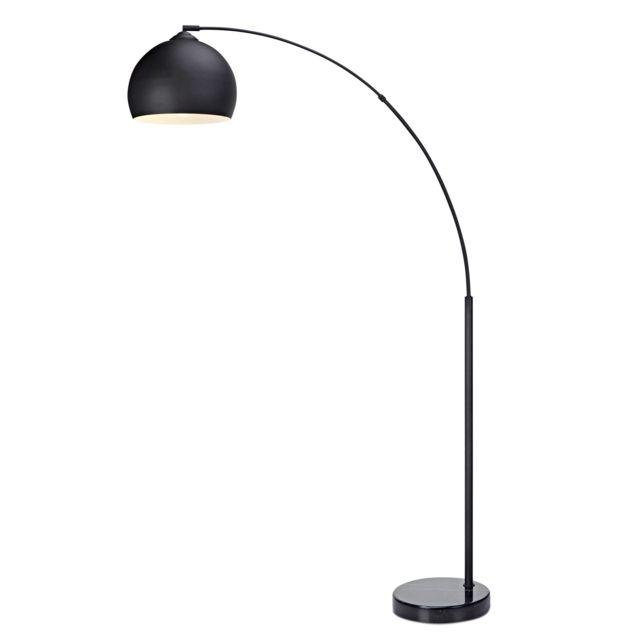 Arquer Lampadaire Arc Lampe De Sol Abat Jour Noir Pied Marbre Noir Noire 108 25cm X 29 52cm X 167 32cm
