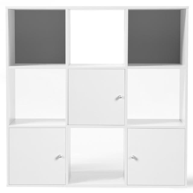 Idmarket Meuble De Rangement Cube 9 Cases Bois Blanc Avec 3 Portes Fond Gris Pas Cher Achat Vente Bibliotheques Vitrines Rueducommerce