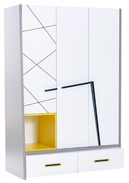 Comforium Armoire 136x201 cm design à 3 portes + 2 tiroirs avec motifs géométriques et poignée design coloris bleu, blanc et jaune