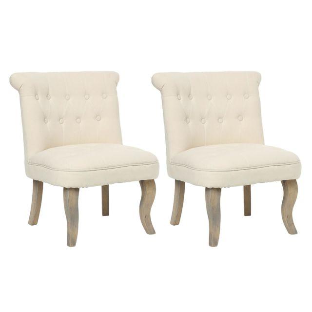 Atmosphera, Createur D'INTERIE Lot de 2 fauteuils effet lin Calixte