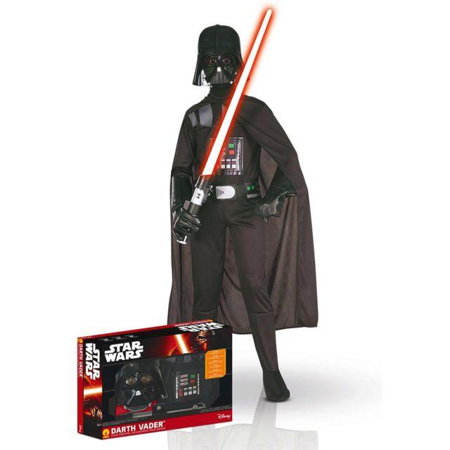 Rubies Déguisement Star Wars : Panoplie luxe Dark Vador avec sabre : 8/10 ans - 8/10 ans 128 à 140 cm