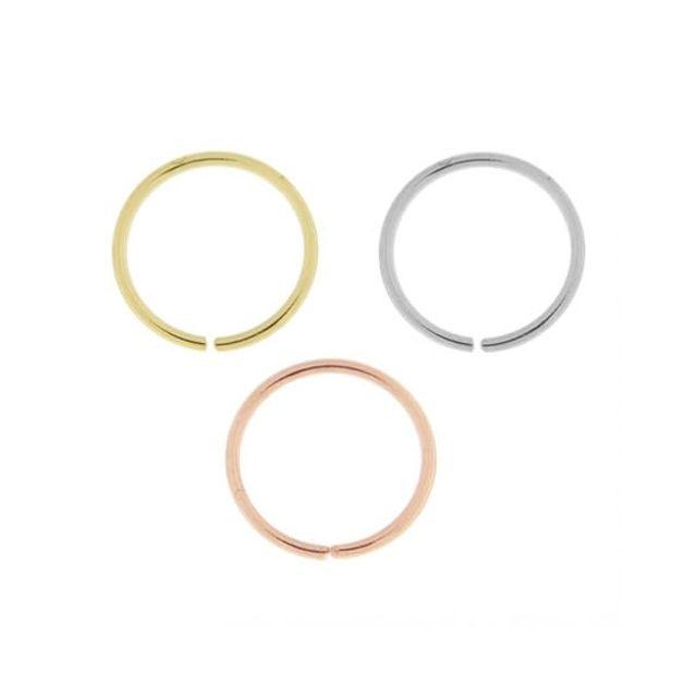 Sans Marque Bijou Pierre Précieuse Piercing De Nez Anneau Sans Soudure En Or 14 carats, Diamètre 6 mm Coffret 3 Anneau