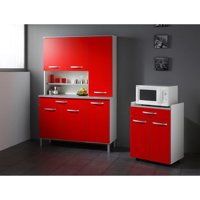 Marque Generique - Meuble desserte Micro-ondes - L60xP44.5xH81.5cm Idea - Rouge 0cm x 0cm x 0cm
