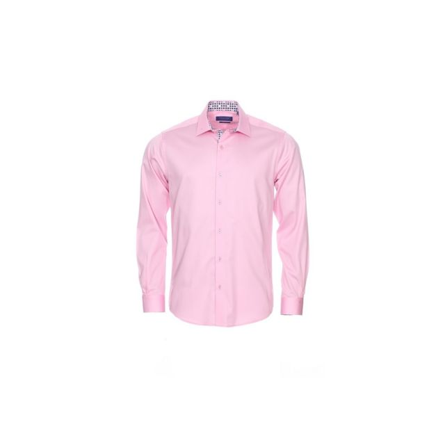 Meadrine Chemise Homme Rose pale oppositions imprimees de carre coupe slim fit