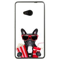 Kabiloo - Coque souple pour Microsoft Lumia 535 avec impression Motifs bulldog cinema blanc