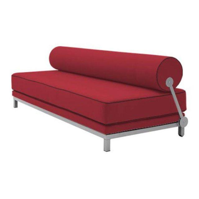 Inside 75 Canapé lit convertible design Sleep en tissu rouge structure aluminium Softline