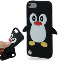 Techexpert - Coque silicone cartoon Pingouin noire pour ipod touch 5 et ipod touch 6