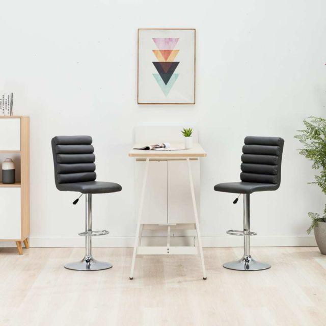 Chic Fauteuils et chaises gamme Budapest Chaises de bar 2 pcs Gris Similicuir