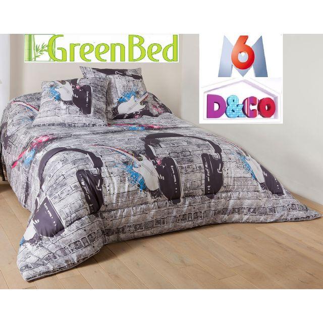 espritzen pack couette imprim e 200x200 350 gr 2 oreillers 600gr pas cher achat vente. Black Bedroom Furniture Sets. Home Design Ideas