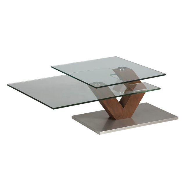 Marque Generique Table basse rectangulaire socle en acier et double plateau en verre trempé