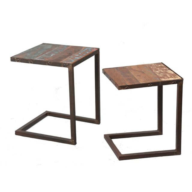 Tousmesmeubles Tables gigognes - Bric - L 40 x l 40 x H 50