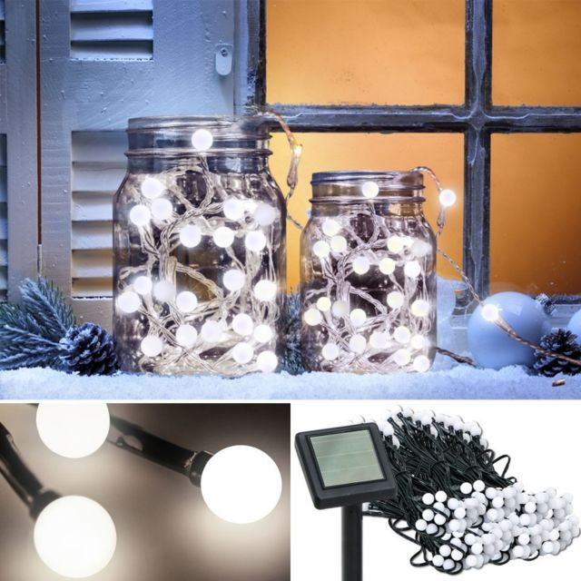 idmarket guirlande solaire 200 boules lumineuses. Black Bedroom Furniture Sets. Home Design Ideas