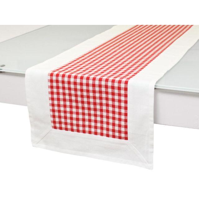Soleil D'OCRE Chemin de table en coton Vichy Rouge, jacquard