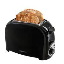 Domoclip - Grille pain noir 2 fentes 750W éjection auto et ramasse miette Dod112N
