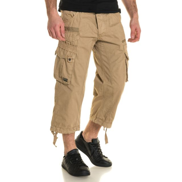 Geographical Norway - Pantacourt cargo multipoches beige avec ceinture ae50ce0bef7
