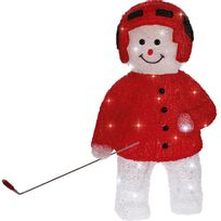 Blachereillumination - Bonhomme de neige en acrylique hockeyeur rouge Led Kar - 60cm