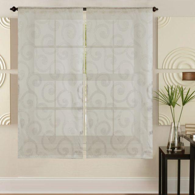 best interior paire de voilages vitrages wave brillant beige 2x60x120cm pas cher achat. Black Bedroom Furniture Sets. Home Design Ideas