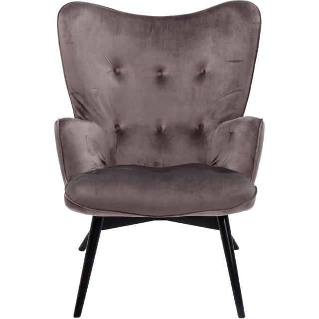 Karedesign Fauteuil Vicky velours gris Kare Design