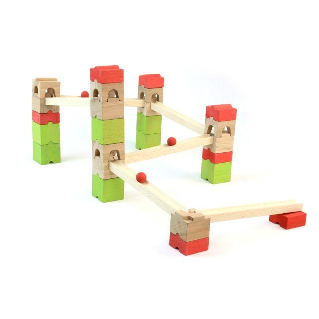 Jeujura Circuit de billes en bois : 39 pièces