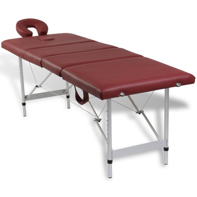 vidaxl table de massage pliante 4 zones rouge cadre en aluminium pas cher achat vente. Black Bedroom Furniture Sets. Home Design Ideas