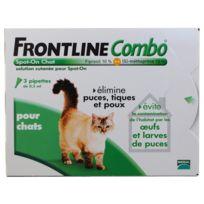 Frontline - Combo - Pipettes Antiparasitaires Élimine les Puces pour Chat - 3x0,5ml