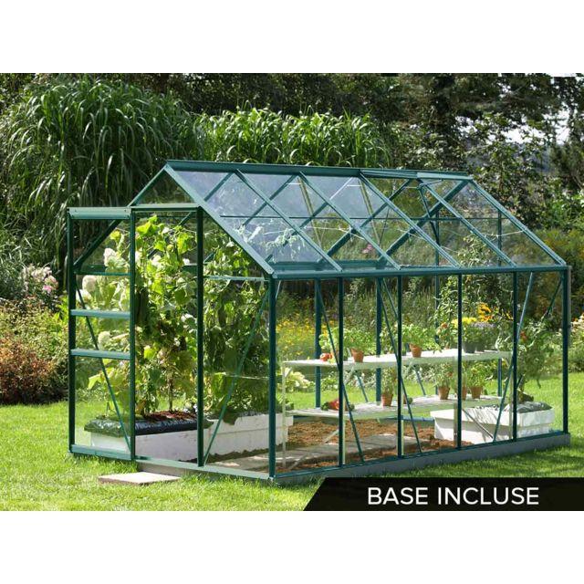 Lams serre de jardin en verre v nus 6 20 m base vert pas cher achat vente serres en - Serre de jardin carrefour ...