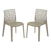 Declikdeco - Lot de 2 chaises design grise brillant Gruyer Opaque